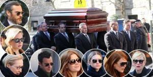 Mimi O'Donnell and Willa Hoffman watches at Philip Seymour Hoffman's casket gets carried by pallbearers to the St. Ignatius Loyola Church in NYC